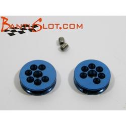 Polea aluminio mecanizado 8 mm diámetro eje 2.38 mm azul MSC (2)