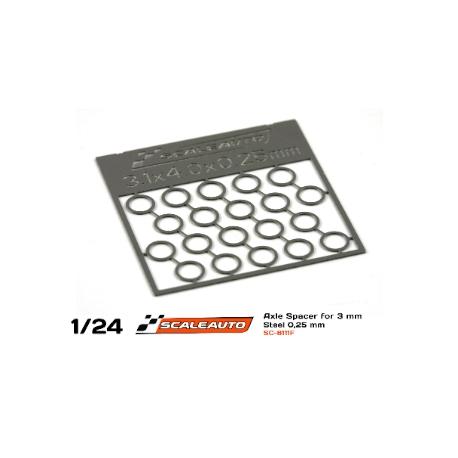 Separadores para eje de 3 mm. de 0,5 mm. grosor Scaleauto (20)