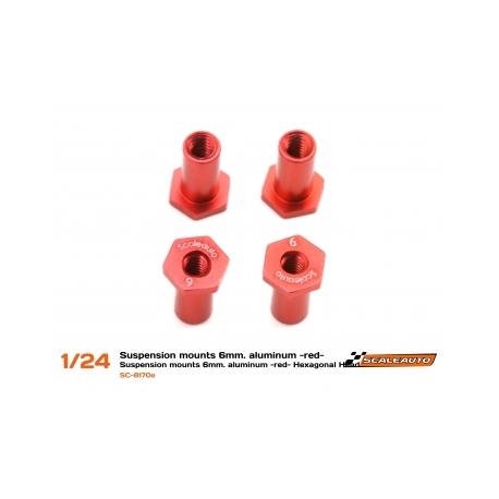 Casquillos sujección H 6mm Aluminio Rojo Scaleauto (4)